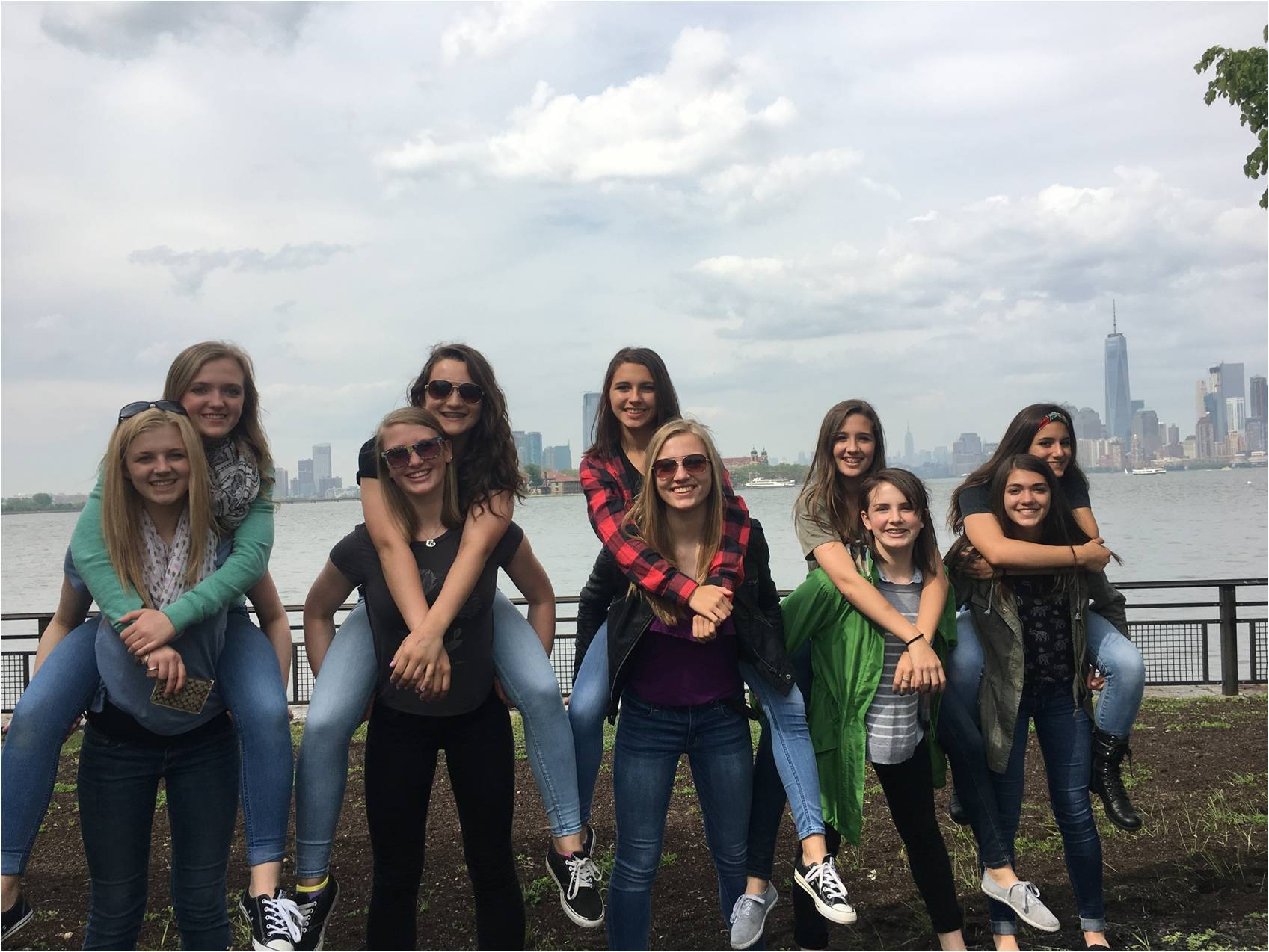 Group of teenagers at battery park