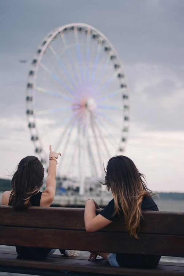Two woman pointing at a ferris wheel